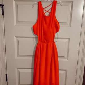 red/orange high low dress NWT